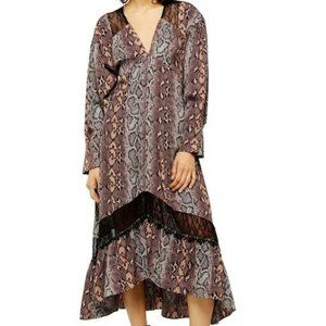 TOPSHOP Snake Print Lace Trim Midi Smocked Dress